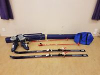 Skis, boots, poles, ski carrier & boot bag - Used twice