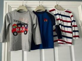 Bundle of boys long and short sleeve tshirts age 2-3