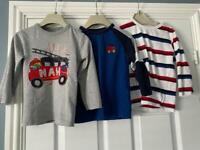 Bundle of boys long and short sleeve tshirts age 2-3