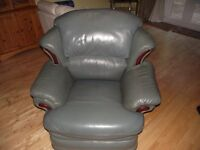 FREE - GREEN LEATHER RECLINING CHAIR. good condition