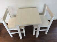 Children's kids wooden white table & chair set