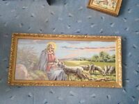 Antique frame with hand sewed picture