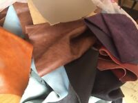 Bag of scrap/off-cuts of leather - Various sizes and colours