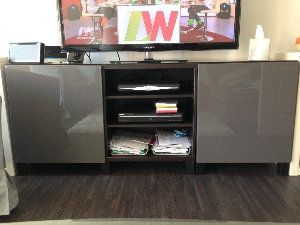 Ikea besta media storage unit in black and high gloss grey for Ikea black gloss living room furniture