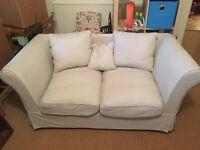 2 seater Sofa. Pale grey/cream.