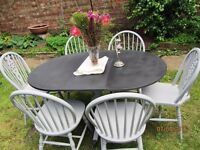 Solid Oak 6 wheel back dining chairs & table shabby chic paris Grey & Graphite