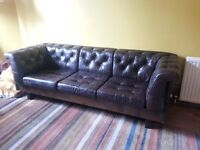Brown leather and wood 3 seater sofa