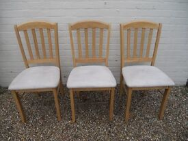 3 x Beech Slatted Back Dining Chairs