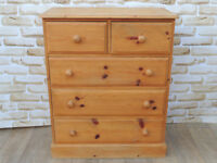 Waxed chunky and strong solid wooden chest of drawers (Delivery)