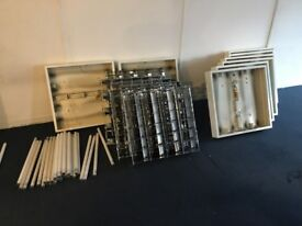 Free! Fluorescent cases, reflectors, and bulbs