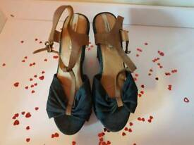 Jeans material wedge sandals size 41