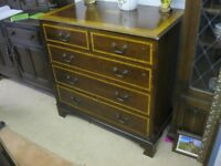 VINTAGE ORNATE INLAID CHEST OF DRAWERS. '2 OVER 3' DRAWER LAYOUT. VIEWING/DELIVERY AVAILABLE
