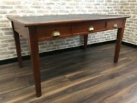 Vintage Oak Desk With Blue Leather Inlay