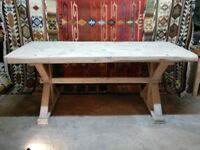 Large reclaimed timber dining / kitchen table 3in thick three plank top on X frame base rustic