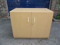 LARGE WOODEN LOCKABLE OFFICE CABINET