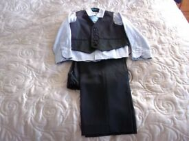 Child's suit, 110cm or 5 years. Waistcoat, trousers, pinstripe, navy, light blue shirt and tie.