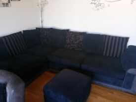 Corner sofa with swivel chair and storage stool for sale