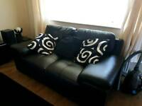 3 + 2 Seater Black Leather Like Sofas