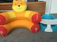 Bumbo with tray and sit up ring