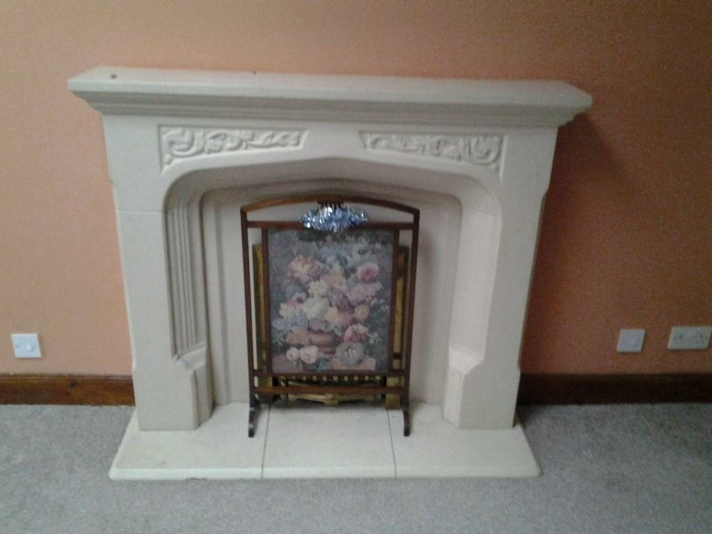 Cream Micro Marble Fireplace And Plinth Please Call Me On