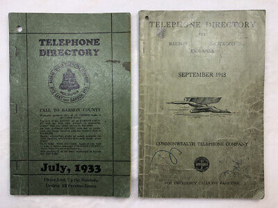 1933 BELL & 1943 GRIFFIN TELEPHONE Directory Book RICE LAKE Birchwood BARRON WI