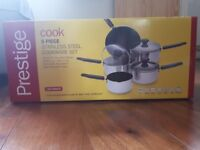 Prestige 5 piece stainless steel cookware pot and pan set