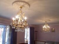 Ornate 5 light metal and glass chandelier (2 available)