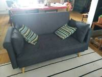 Charcoal grey two seater sofa