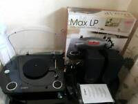 ION, MAX LP, conversion turntable with stereo speakers with extra ION speakers