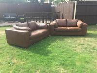 Brown Italian Leather 2x2 sofas