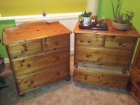 Pine Bedroom Furniture - Wardrobe, 3 x Chest of Drawers, Bookcase