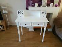 Shabby chic white hall console table