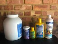 Job lot of 5 large bottle of fish tank food and chemical