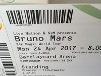 2x BRUNO MARS TICKETS BIRMINGHAM - MONDAY 24th APRIL - Standing