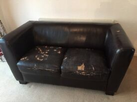 2 seater leather settee and chair