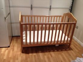 Cot bed with mattress - Mamas and Papas solid oak cot bed. Hardley used. Like new.