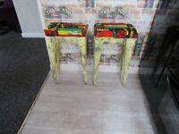 ++REDUCED++ NEW UNIQUE BESPOKE STOOLS HAND MADE WITH BOB MARLEY COVERS 25ins TALL. 4 AVAILABLE