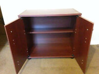 Two small mahogany effect storage cupboards