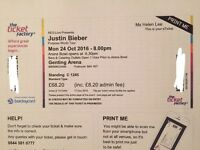 2 x Justin Bieber Standing Tickets Birmingham 24th October 2016