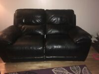 2 chair and 2 seater black leather all recliners