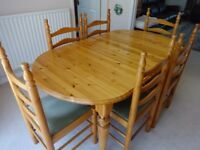 Ducal natural pinewood extending table and 6 Ducal chairs