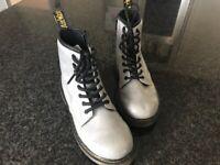 Silver glitter Doc Marten boots - size 2.5