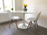 Dining Set - White + Round Dining Table with 2 x White Eames Inspired Chairs