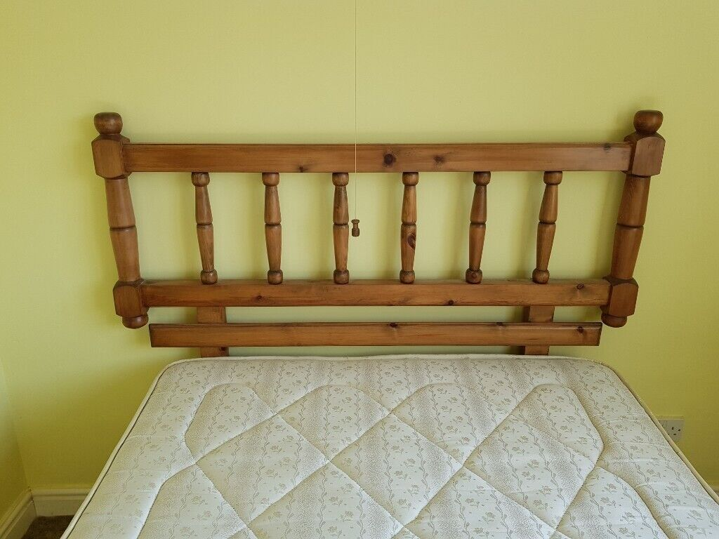 Bed 34 Size With Antique Pine Headboard In Mickleover Derbyshire