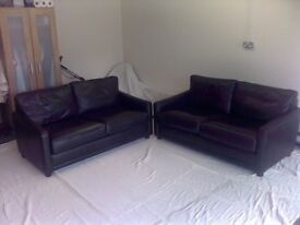 TWO STUNNING DARK BROWN LEATHER SOFAS SOLD INDIVIDUALLY OR AS A PAIR