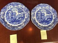 Set of 2 Copeland Blue Italian Spode divided ridged sandwich plates
