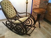 Thonet No.10 rocking chair with footrest and Thonet coffee table