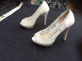 Brand New, Next Satin Ivory Shoes, size 3,