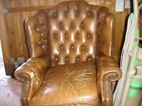 LEATHER CHESTERFIELD WINGBACK ARMCHAIR in need of restoration