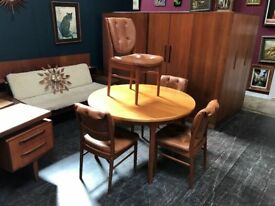 McIntosh of Kirkcaldy Extending Dining Table & Chairs. Retro Vintage Mid Century